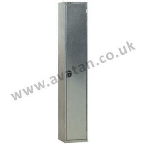 Steel compartment locker economy galvanised single door with coat hook and shelf