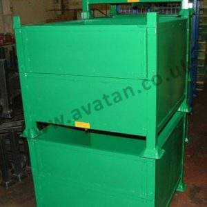 Box Pallet Steel Stillage With Half Drop Gate Stackable