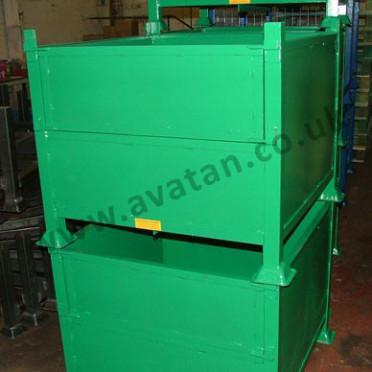 Steel Box Pallet Stillage With Half Drop Gate Stackable