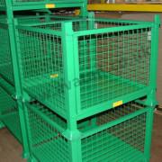 Steel cage pallet stillage removable front gate mesh