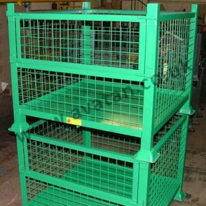 Steel stillage half drop gate cage pallet mesh stackable