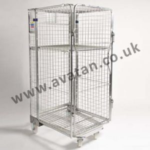 Nestable Secure Roll Container, Mid Height Shelf