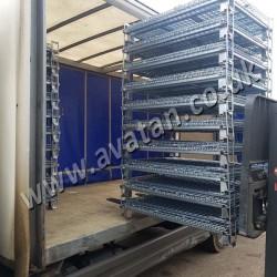 Folded CubiCages Economical Cage Pallets Vehicle Loading