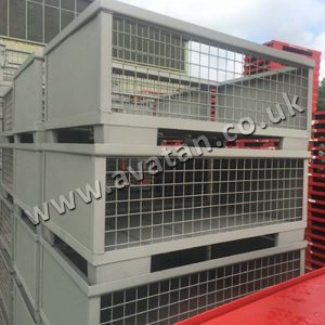 Euro Style Gitterbox Stackable Cage Pallet Fixed Sides